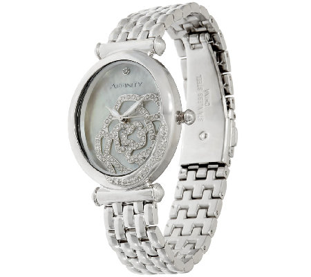 Rose Encrusted Diamond Watch, Stainless Steel 1/2 cttw by Affinity