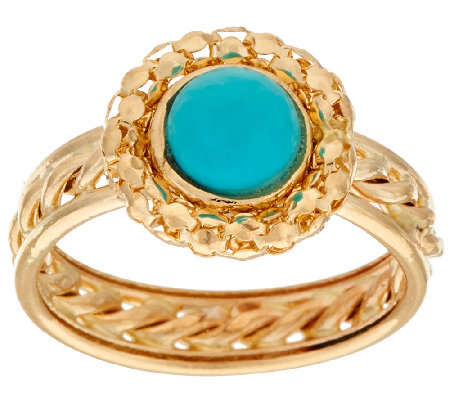 14K Gold Sleeping Beauty Turquoise Ring with Rope Inlay Band