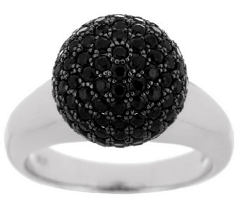 """As Is"" VicenzaSilver 2.00 ct tw Black Spinel Bead Ring - J322444"