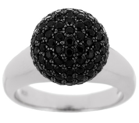 """As Is"" Italian Silver Sterling 2.00 ct tw Black Spinel Bead Ring"