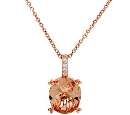 Diamonique & Simulated Morganite Pendant, Sterling