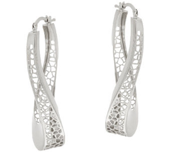 "Vicenza Silver 1-3/4"" Twisted Cut-out Hoop Earrings - J323844"