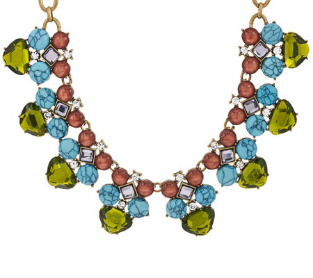 LOGO Links by Lori Goldstein Moonstone and Matrix Collar Necklace