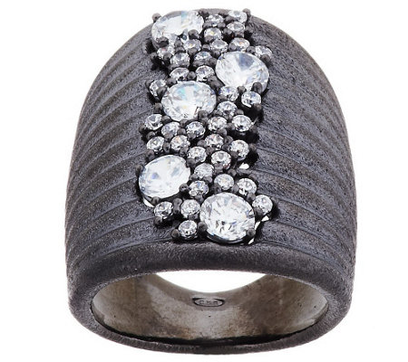 """As Is"" VicenzaSilver Sterling Bold Crystal Cascade Cluster Ring"