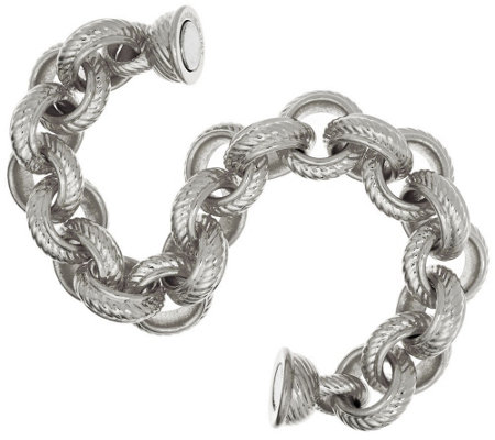 """As Is"" Oro Nuovo 6-3/4"" Textured & Polished Rolo Bracelet, 14K"
