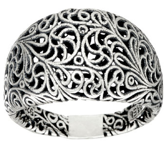 Sterling Silver Openwork Lace Tapered Band Ring by Or Paz - J326044