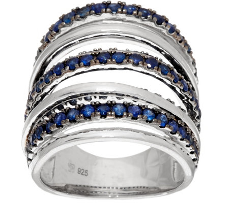 """As Is"" Sterling Silver Blue or Pink Sapphire Wide Band Ring, 2cts"