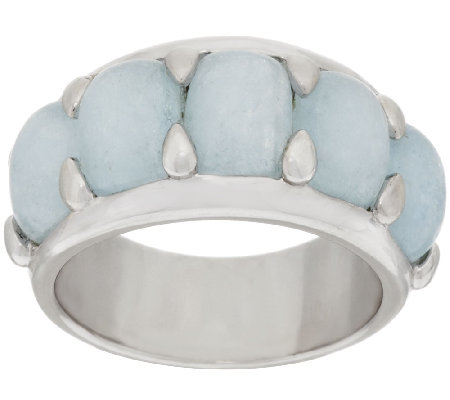 """As Is"" Milky Aquamarine 5-Stone Design Sterling Silver Band Ring"
