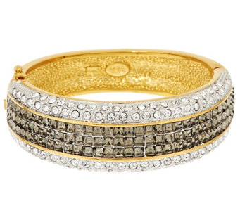 """As Is"" Joan Rivers Elegant Crystal Hinged Bangle - J327844"