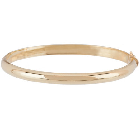 "14K Gold Solid Average 1/4"" Oval Hinged Bangle Bracelet, 32.7g"