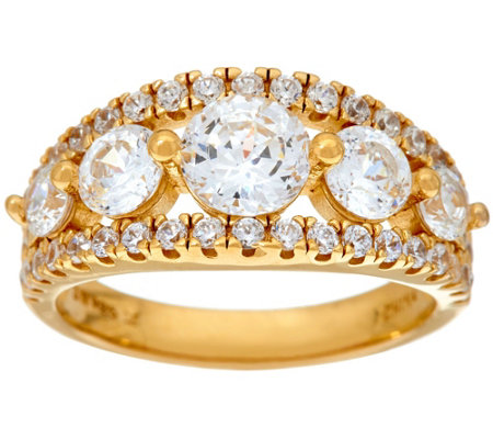 Diamonique 100-Facet 5-Stone Ring, 14K Yellow Clad