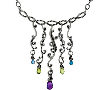 Carolyn Pollack Multi-Gemstone Sterling Silver Dangle Necklace - J329044