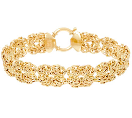 "14K Gold 8"" Double Byzantine Station Bracelet, 6.9g"