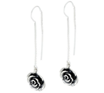 Sterling Silver Rose Threader Earrings by Or Paz - J330244