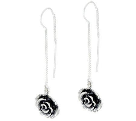 Sterling Silver Rose Threader Earrings by Or Paz