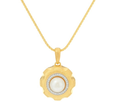 Genesi 18K Clad Cultured Pearl & White Topaz Pendant with Chain