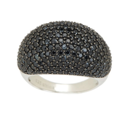"""As Is"" 3.55 ct tw Black Spinel Pave' Domed Ring, Sterling"