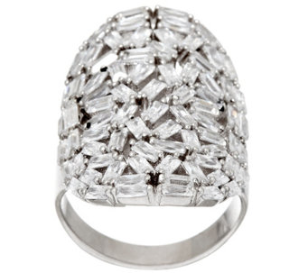 """As Is"" Vicenza Silver Sterling Baguette Crystal Elongated Ring - J331144"