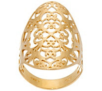14K Gold Polished Elongated Open Work Ring - J331344