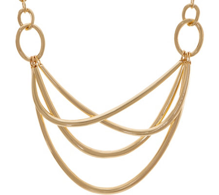 Linea by Louis Dell'Olio Trapeze Metal Criss Cross Necklace
