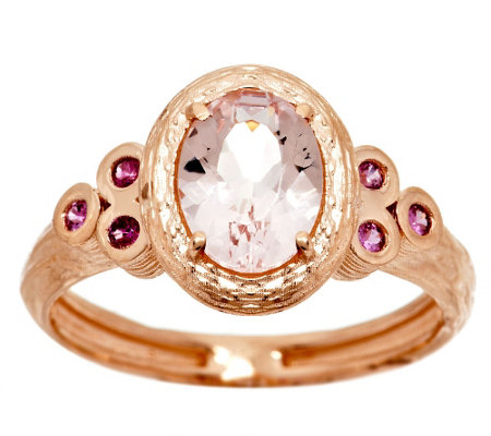 """As Is"" Adi Paz .70ct Morganite & Pink Sapphire Accent Ring, 14K Gold"