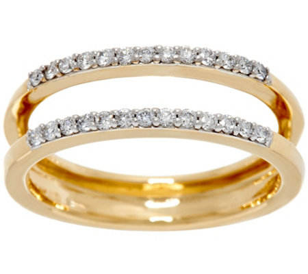 """As Is"" White Diamond Ring Guard, 14K Gold 1/4 cttw by Affinity"