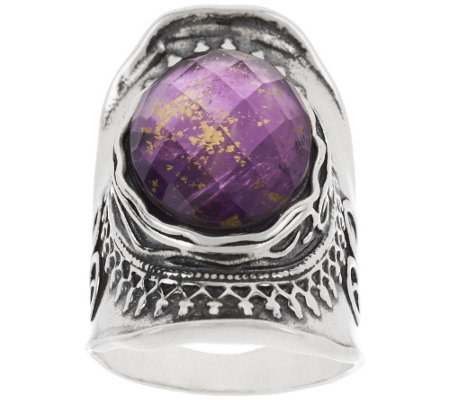 """As Is"" Sterl. Amethyst & 18K Gold Foil Triplet Ring by Or Paz"