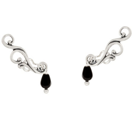 """As Is"" Carolyn Pollack Sterl. Silver Ear Climber Earring w/ Bead Drop"