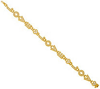 "Judith Ripka Sterling/14K Clad 7-1/4"" Diamonique Love Bracelet - J346944"