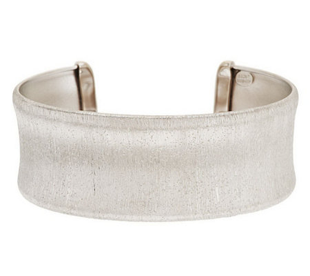 """As Is"" Italian Silver Sterling Large Satin Diamond Finish Cuff"