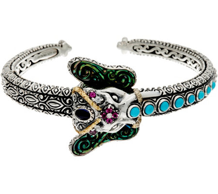 Barbara Bixby Sterling & 18K Multi-Gemstone Elephant Cuff Bracelet