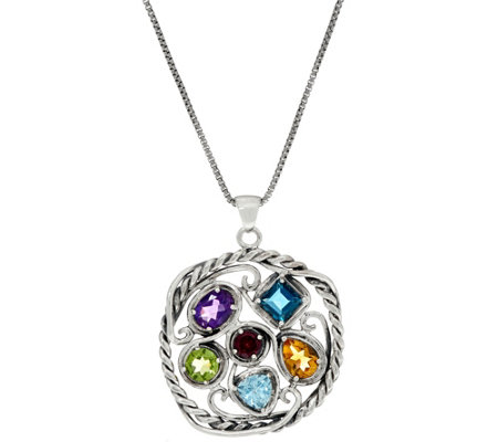 Sterling Silver 5.40 carats Multi-gemstone Pendant with Chain by Or Paz