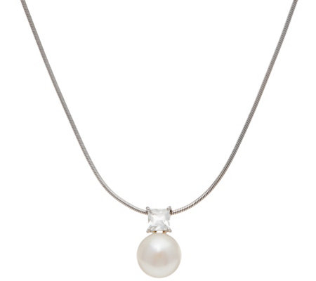 Honora Cultured Pearl & White Topaz Necklace, Sterling Silver