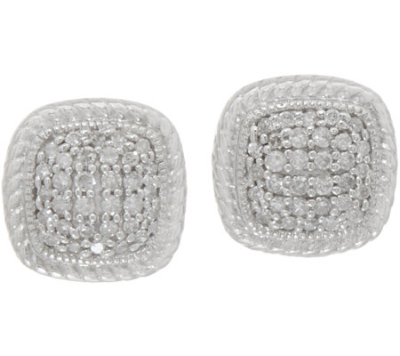 White Diamond 1/4 cttw Cushion Shape Studs, Sterling by Affinty