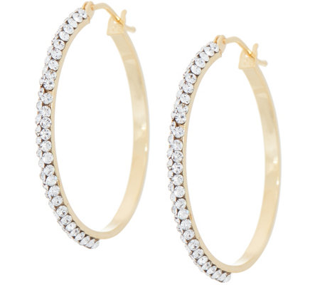"Italian Gold and Swarovski 1-1/8"" Hoop Earrings, 14K Gold"