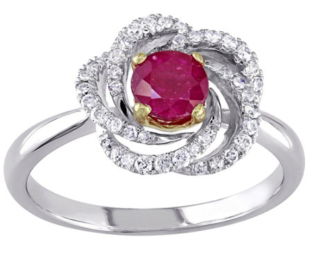 14K 0.60 ct Ruby & 1/4 cttw Diamond Flower Ring
