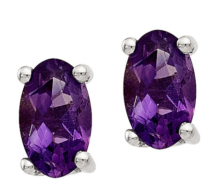 Sterling Oval Gemstone Post Earrings