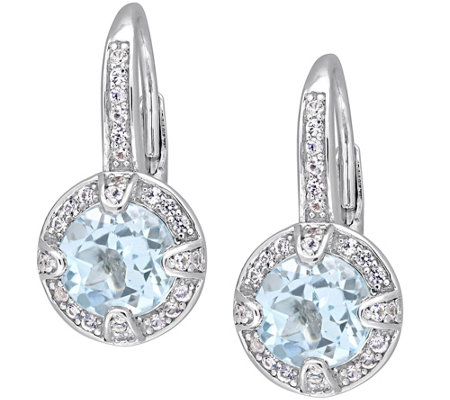 Sterling 3.55 cttw Blue Topaz & White SapphireEarrings