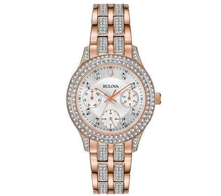 Bulova Women's Rosetone Swarovski Crystal Watch