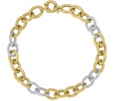14K Two-Tone Hammered & Polished Curb Link Bracelet, 5.8g