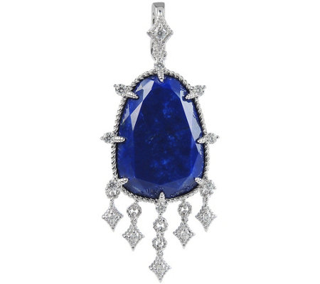 Judith Ripka Sterling Lapis & Diamonique Pendant
