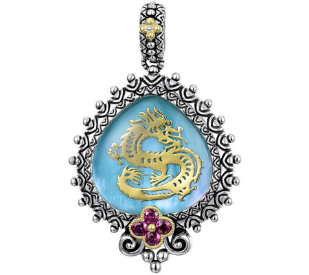 Barbara Bixby Sterling & 18K Gemstone Dragon Enhancer
