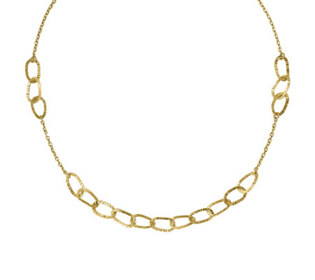 "Italian Gold 17"" Diamond-Cut Oval Link Necklace14K, 7.3g"