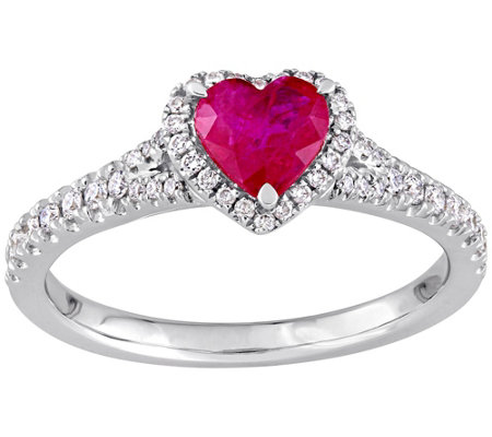 14K Gold 1 00 cttw Ruby & Diamond Heart Ring — QVC