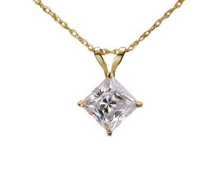 Diamonique 1.00 ct Princess Solitaire Pendant w/Chain, 14KGol