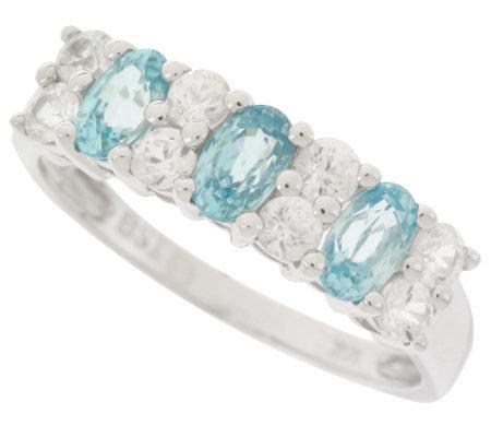 1 80cttw blue white zircon band ring 14k white gold