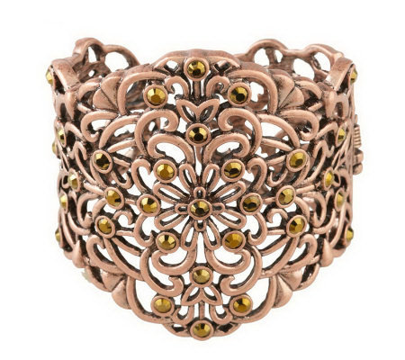 Filigree & Crystal Cuff Bracelet