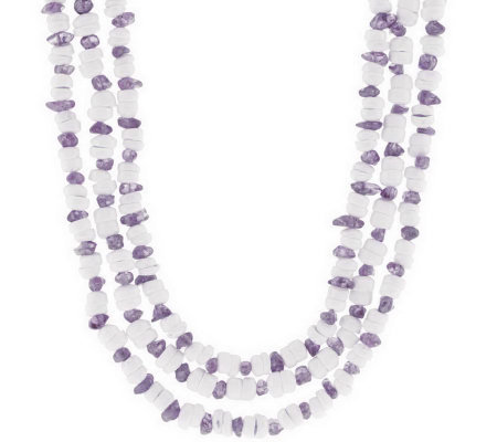 """As Is""LeeSands Multi-Strand Sh ell & Gemstone Chip17""Necklace"