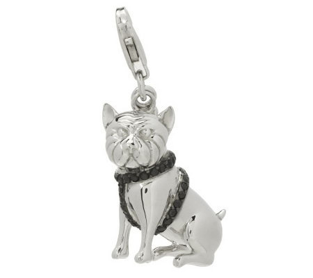 David English Diamonique Bull Dog w/Bone Charm Sterling