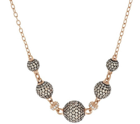 Judith Ripka Sterling & 14K Rose Clad Pave Diamonique Bead Necklace
